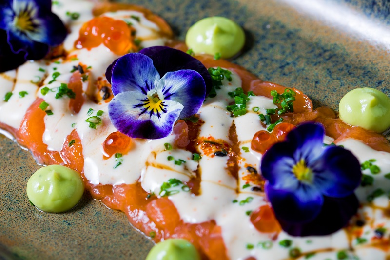 Salmon tiradito and salsa acevichada
